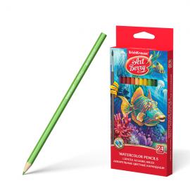 Akvareliniai spalvoti pieštukai ø3 mm., 24 spalvų + teptukas, Art Berry