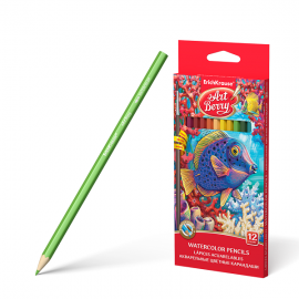 Akvareliniai spalvoti pieštukai ø3 mm., 12 spalvų + teptukas, Art Berry