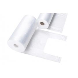 HDPE maišeliai su rankenėlėmis, 220x450mm, 8 mik., 500 vnt., rulonėlyje