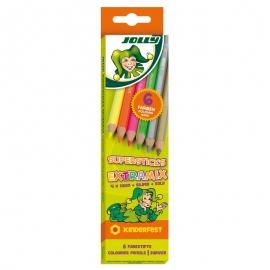 Spalvoti pieštukai 6 sp. SUPERSTICK KINDERFEST EXTRA MIX