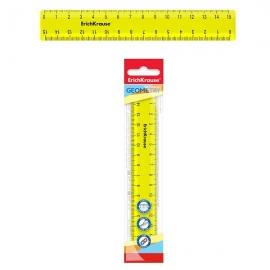Plastikinė liniuotė NEON SOLID, ErichKrause, 15cm ilgio, neoninė geltona sp.