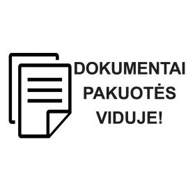 Informacinis lipdukas siunčiamų prekių pakuotės ženklinimui DOKUMENTAI PAKUOTĖS VIDUJE!, 100x51mm, 100 vnt.