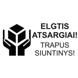 Informacinis lipdukas siunčiamų prekių pakuotės ženklinimui ELGTIS ATSARGIAI!, 100x51mm, 100 vnt.