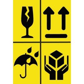 Informacinis lipdukas siunčiamų prekių pakuotės ženklinimui ATSARGIAI, DŪŽTA, SAUGOTI NUO DRĖGMĖS, NEVARTYTI, 74x107mm, 50 vnt.