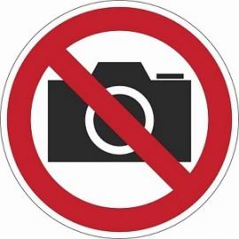 Lipnus ženklas FOTOGRAFUOTI AR FILMUOTI DRAUDŽIAMA, 90X90mm