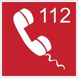 Lipnus ženklas GAISRO AVARINIS TELEFONAS 112, 140x140mm