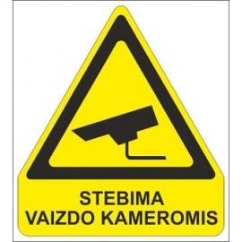 Lipnus ženklas STEBIMA VAIZDO KAMEROMIS, 140x120mm
