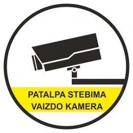 Lipnus ženklas PATALPA STEBIMA VAIZDO KAMERA, 90x90mm