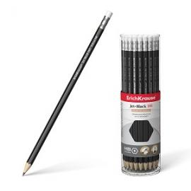 Grafitinis pieštukas HB JET BLACK 101, ErichKrause, kietumas HB, su trintuku