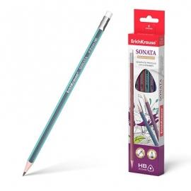 Grafitinis pieštukas SONATA, ErichKrause, HB, su trintuku
