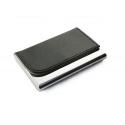 Dėklas vizitinėms kortelėms TIVAT, metalinis, su dirbtinės odos detalėmis, juodos sp.