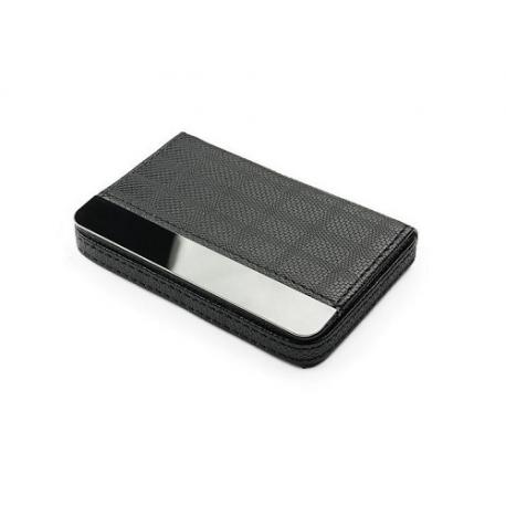 Dėklas vizitinėms kortelėms, juodos spalvos su metalo detale