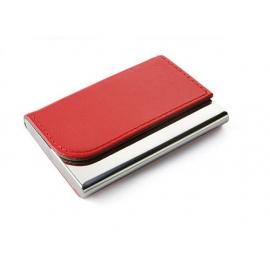 Dėklas vizitinėms kortelėms TIVAT, metalinis, su dirbtinės odos detalėmis, raudonos sp.