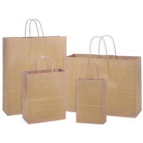 Popierinis maišelis su rankenėlėmis, 305x170x340mm, 90gsm, 17.5L, rudos sp.